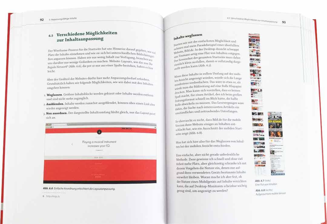 Innenseite des Buches Responsive Webdesign